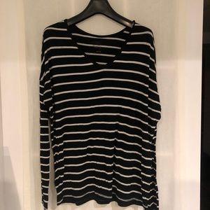 Super Soft Long Sleeve V Neck Striped Shirt